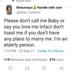 Don't Call Me Baby Or Toast Me If You Don't Have Plans To Marry Me' – Lady Gives Stern Warning To Men