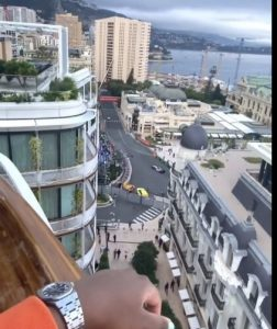 DJ Cuppy Watches Monaco Grand Prix From Her Balcony In Monte Carlo